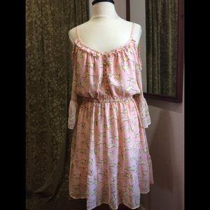 Anthro HAZEL Pink Cold Should Dress Birds, XL